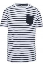 T-shirt rayé marin avec poche pour homme personnalisable