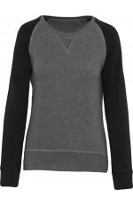 Sweat-shirt BIO bicolore col rond à manches raglan pour femme personnalisable