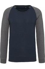 Sweat-shirt BIO bicolore col rond à manches raglan pour homme personnalisable
