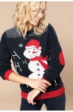 Pull de Noël motif bonhomme de neige à personnaliser