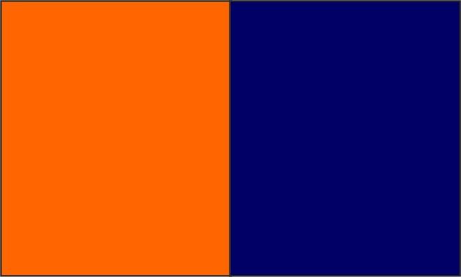 Coloris Orange fluo / bleu marine
