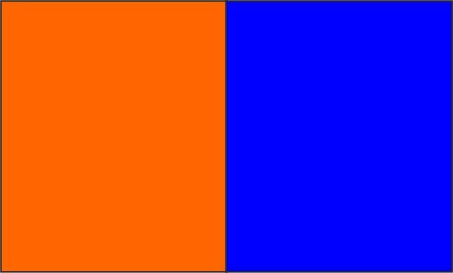Orange fluo / bleu royal