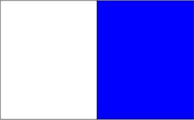 Blanc / bleu royal