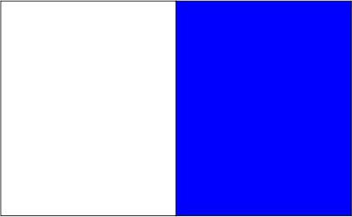 Blanc / bleu royal